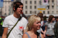 Activists at Gay Pride 2007, Moscow. Photo courtesy 'Pavel.' Click for more photos.