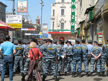 Police formed a human barricade around the demonstration area of Gay Pride 2007 in Moscow. Photo courtesy Kathleen Feyh.