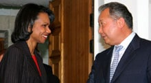 Kyrgyz President Kurmanbek Salievich Bakiev meets US Secretary of State Condoleezza Rice