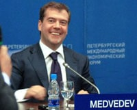 Medvedev at the Petersburg International Economic Forum. Medvedev is seen as an economic liberal and friendly towards the West.