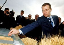 Medvedev inspects grain produced in the Orenburg region of south western Russia.