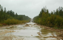 The road, as it currently exists, which leads to Yakutsk
