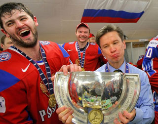 Alexander Radulov after winning the 2009 World Championship.