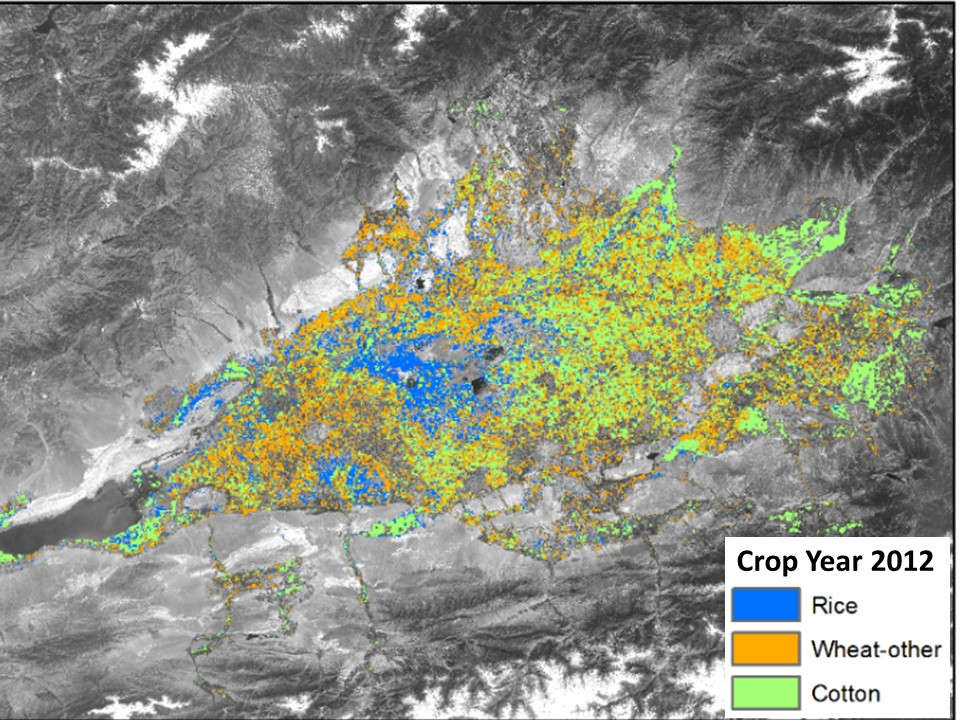2012 crop distribution for the Fergana Valley, superimposed on a satellite photo of the area. Map produced by Monitoring, Evaluation & Learning.