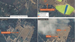 Satellite photos showing Russian bases in Syria. Published Credit: Airbus/IHS Jane's Intelligence Review