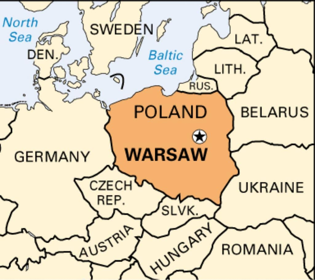 Warsaw a map of poland showing surrounding countries biocorpaavc
